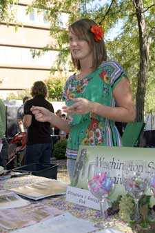 Becca Bailey, president of the WSU V&E Club, at CAHNRS Fall Festival. The WSU Viticulture and Enology Club relies on donations from the industry for tastings and other events. Photo by Brian Charles Clark