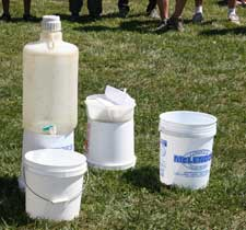A simple in-field hand washing station that meets USDA GAP standards.