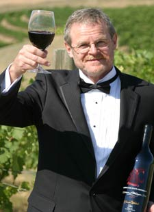 Thomas Henick-Kling, director of WSU viticulture and enology program, toasts the vintage partnership between WSU and the Washington wine industry.