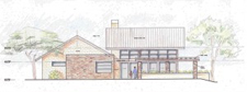 A drawing of the proposed outdoor event facility at the Clore Center.