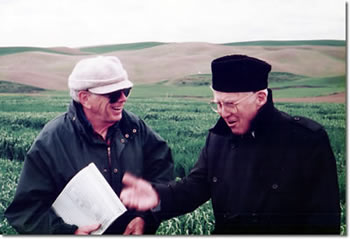 Dr. Robert E. Allan (left) with Nobel Peace Prize winner Dr. Norman E. Borlaug, at Spillman Farm, May 1995. Borlaug is credited with fathering the Green Revolution.