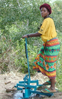 A Malawi woman uses a treadle pump for small-scale irrigation.