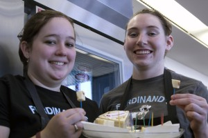 WSU Creamery workers Breanne Hensley and Megan Finch enjoying the flavor of new Oreganato.