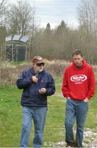 Getting to know each other. Dave Tharp, left, has been a trip leader on every Spring Break expedition.