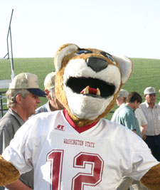 Butch gives a mighty Cougar welcome to field day participants.