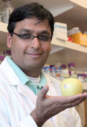Amit Dhingra holds a Golden Delicious apple. Photo by Brian Charles Clark