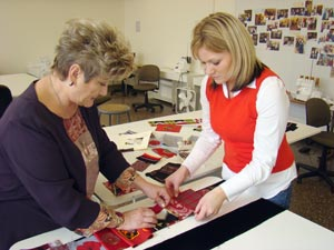 Working on the stole for President Floyd