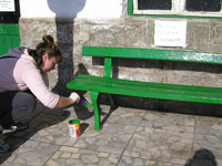 Painting and cleaning up a bus station in Rila, Bulgaria as part of a beautification project.