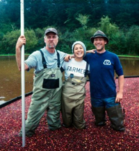 Starvation Alley Farms cranberry harvest in fall, 2011. L-R: John Oakes (Jared's dad), Jessika Tantisook, Jared Oakes