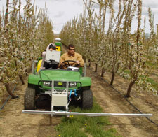 WSU doctoral student Jingjin Zhang (left) and engineering technician Patrick Scharf measure photosynthetic energy absorption in sweet cherry trees at the WSU Roza Research Orchard near Prosser. The measurements are taken on a mobile platform that is part of a three-year project to develop a precision agriculture system for specialty crop growers. Photo by Qin Zhang/WSU.