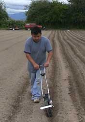Salvador Morales, originally from Oaxaca, Mexico, uses a seeding tool to quickly plant his field at Viva Farms.