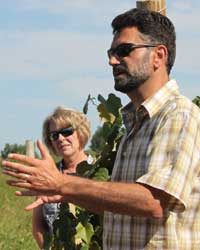 Markus Keller, WSU Chateau Ste. Michelle Distinguished Professor of Viticulture, discusses Concord grape spacing during the 2012 Washington Viticulture Field Day.