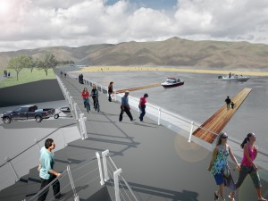 Image by Mark Lo and Daniel Baum illustrating a possible future for the Lewiston waterfront.