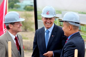 Leaders in the development of the WSU Wine Science Center gathered at the groundbreaking last November.