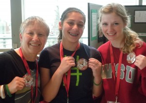 Debbie Niehenke with 4-H'ers Liz and Courtney at the 4-H Teen Conference at WSU.