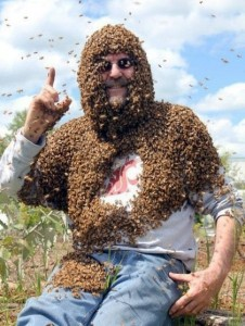 Tim Lawrence with honey bees. Photo by Brandon Hopkins, WSU.