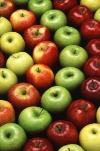 Golden Delicious, Gala, Granny Smith, and Red Delicious apples. (Photo courtesy USDA ARS).