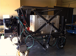 The manually operated research prototype of a self-propelled bin carrier created by WSU researchers.