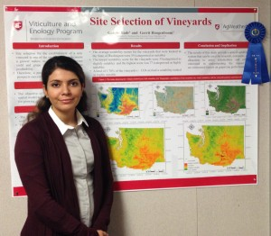 Golnaz Badr, WSU doctoral student of engineering, has combined Washington soil, topography and weather data into a state map showing areas suitable for vineyards.