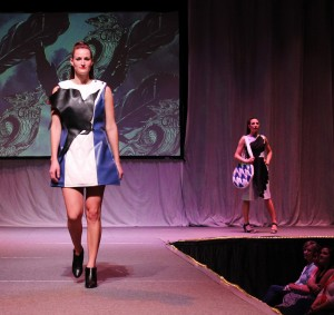 Student models wear runway fashions by Stella Crumpton at the 2014 Mom's Weekend Fashion Show at Washington State University.