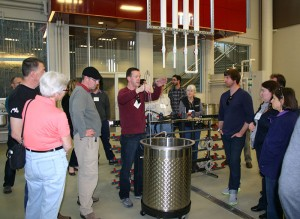 WSU research winemaker Richard Larsen explains how the state-of-the-art fermentation system in the Wine Science Center works. The system was donated by Cypress Semiconductor and Spokane Industries.