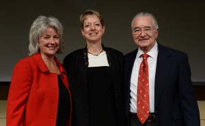 Janet Schmidt, Whitman County Extension Director, center, received the Faculty of the Year award from Dean Ron Mittelhammer and Executive Associate Dean Kim Kidwell at the 2015 CAHNRS Honors ceremony. Shelly Hanks/WSU Photo