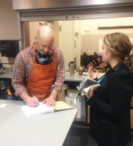 Chef Vetri signs a book last week at WSU Mount Vernon.
