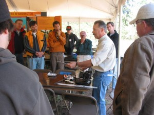 J.D. Fernstrom of STIHL Northwest gives a chainsaw safety presentation at an Extension Forestry Field Day. The 2015 Field Day is planned for Saturday, June 20, in Ronald, Wash.
