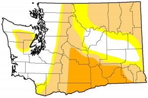 Washington drought: Severe=orange. Moderate=beige. Abnormally dry=yellow.