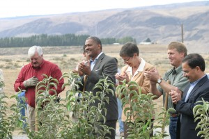 President Elson Floyd at the Sunrise Research Orchard.