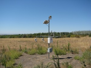 """Chucker,"" a WSU AgWeatherNet monitoring station near Benton City, pictured on July 28, 2015."