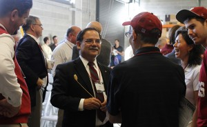 Interim WSU President Dan Bernardo visits with guests and students during the Oct. 17 dedication.