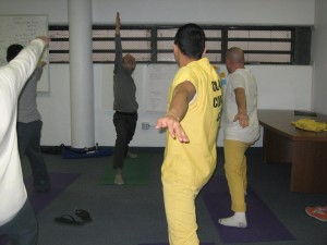 A yoga instructor leads his class at the Chelan County Regional Jail in Wenatchee.