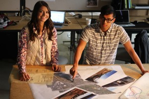 Taylor Weik and Andrew Cristiani, students in the WSU School of Design and Construction, explore ways to bridge divides between Spokane's East Central neighborhood and the city's thriving University District. (Photo by Seth Truscott, WSU CAHNRS)