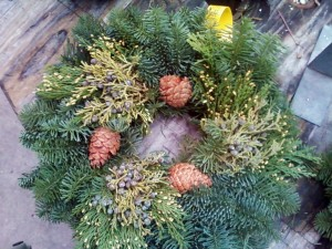 Holiday wreath made with noble fir and western red cedar boughs. Photo credit: Jim Freed/WSU.