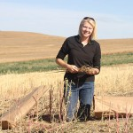 Rachel Wieme inspects harvested quinoa at a research farm near Pullman. Wieme, a doctoral scholar in crop and soil sciences, is learning how to link policy, science and sustainable agriculture this winter through the new C-NSPIRE certificate program (Photo by Seth Truscott/WSU).