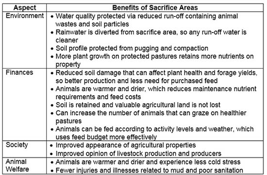 Table 2: Positive effects of sacrifice area use on all aspects of sustainable livestock production.