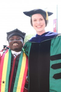 Charles Diako, new PhD holder in Food Science, with mentor Carolyn Ross.