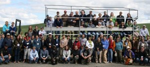 A tour group explores test sites at the Cook Agronomy Farm Field Day.