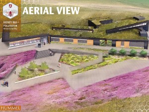 Drawing of the aerial view of the proposed WSU Bee and Pollinator Research Center.