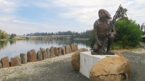 The WSU students' designs aim to enhance a riverside park that includes a sculpture by Cheryl Metcalf of Chief Morris Antelope.
