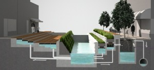 A prototype for urban design that captures and uses stormwater.