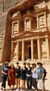 Interior Design students explore the ancient treasury site at Petra during a July 2017 study trip.