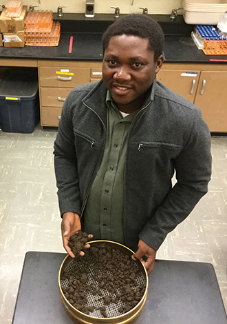 Bullitt Environmental Prize winner Cornelius Adewale sifts soil in his laboratory. The third WSU winner of the prize in the past six years, Adewale is advised by Associate Professor Lynne Carpenter-Boggs (Seth Truscott/WSU Photo).