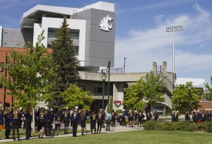 FFA students stand outside Martin Stadium on the WSU campus.
