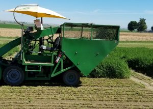 Harvester working in a Washington alfalfa field