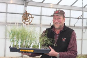 Michael Neff holds a tray of experimental cress plants