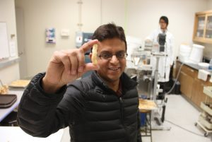 Ganjyal holds a puff made in the WSU extrusion lab.