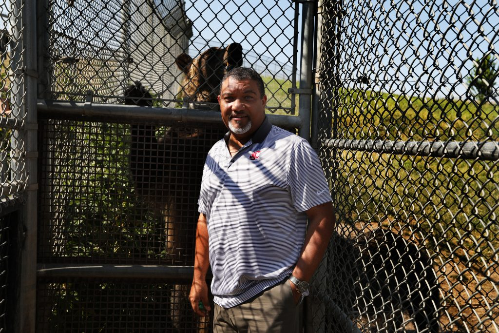 A bear stands behind Wright at the entrance to the large fenced enclosure