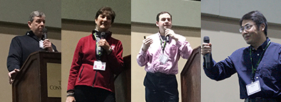 Composite image of researchers speaking at the convention.